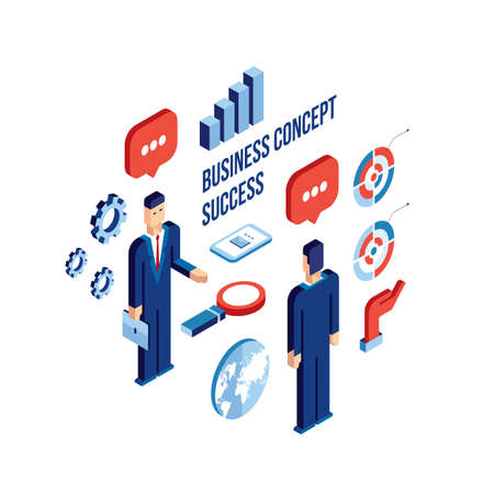 achiever: Businessman isometric people Successful business communication technology concept