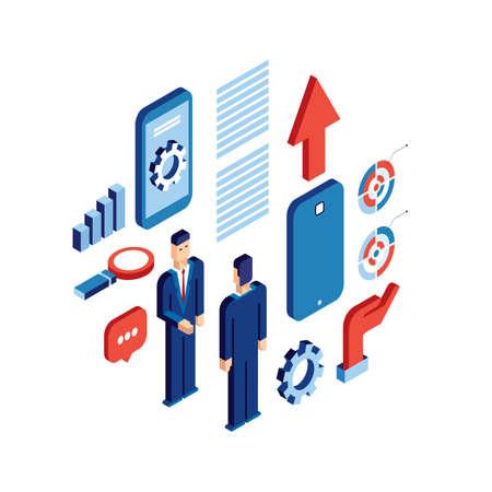 business communication: Businessman isometric people Successful business communication technology concept Vector illustration Illustration
