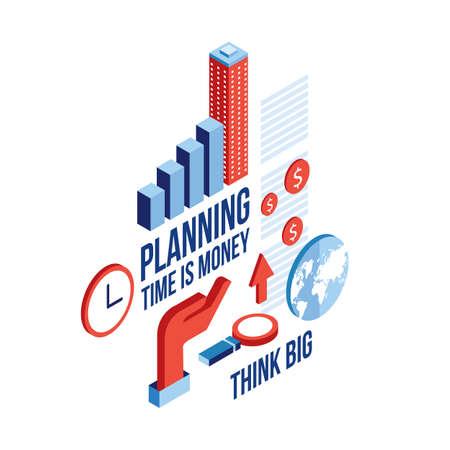 planning diagram: Isometric Raising graph Infographic elements set Business Planning concept Vector illustration