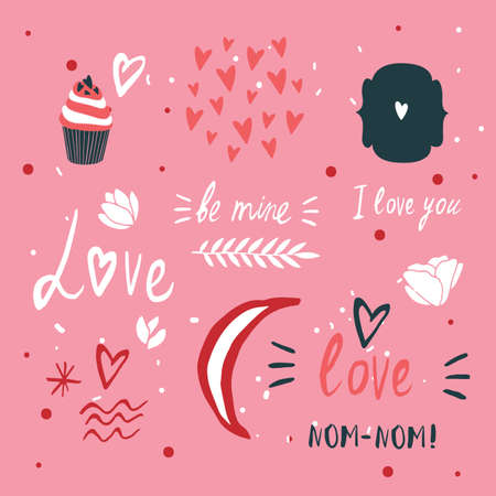 st valentines day: St Valentines Day lettering and cute design elements collection Vector illustration