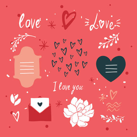 St Valentines Day lettering and cute design elements collection Vector illustration