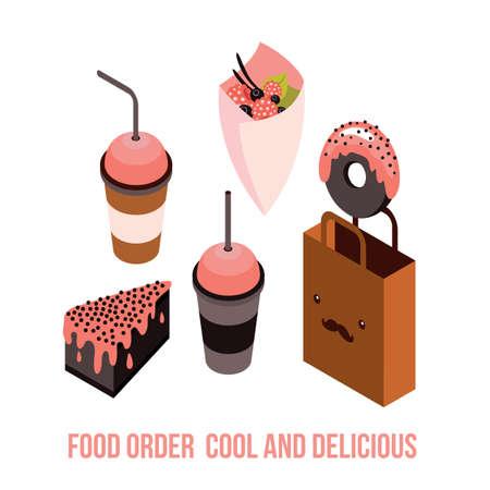 glazed: Delicious Food order Dessert Cake Donut Coffee Tea cup Isometric Vector illustration