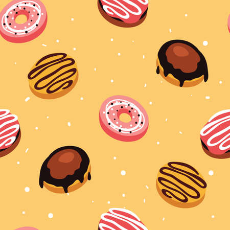 Seamless background pattern Delicious dessert Donuts with glaze and sprinkles Vector illustration