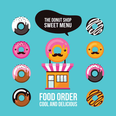 ordering: Donut icons Delicious dessert Food ordering Cafe shop facade Vector illustration