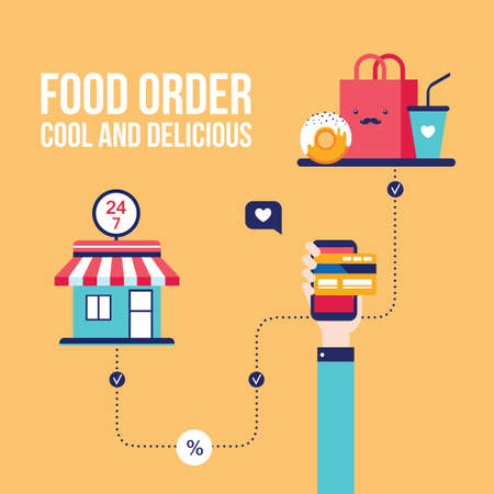 online business: Food order Online shopping e-commerce mobile payment Successful business concept Vector illustration