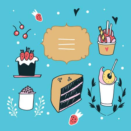 fashion design sketch: Hand drawn design element set delicious food desserts Lovely label Vector illustration