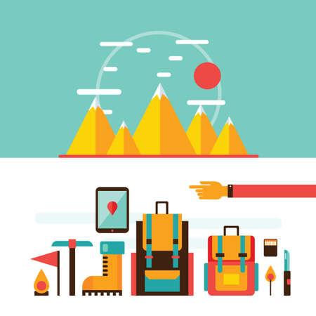 escalando: senderismo de monta�a y escalada elementos de dise�o recorrido que acampa recreaci�n deporte ilustraci�n vectorial
