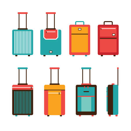 luggage: Colorful travel bag icon set Carry on luggage collection Vector illustration