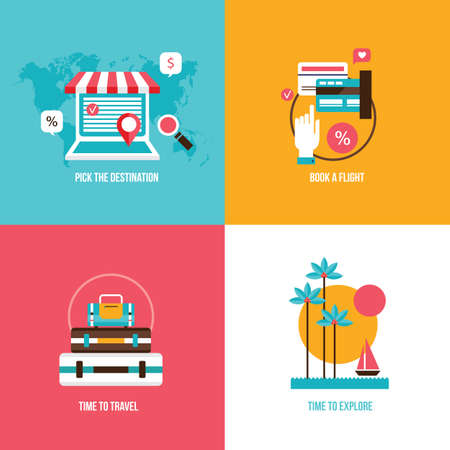 graphic icon: Travel tourism vacation set Holidays on the beach concept illustration