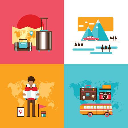 road trip: Travel tourism holidays vacation set Young man exploring world illustration Illustration