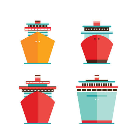 ocean liner: Cruise liner ship icon set Sea Ocean travel vacation concept illustration Illustration