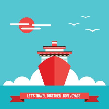 Nave da crociera di linea sfondo colorato Turismo Viaggi Concetto di vacanza illustrazione