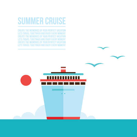 cruise liner: Cruise liner ship background Travel Tourism Vacation concept illustration