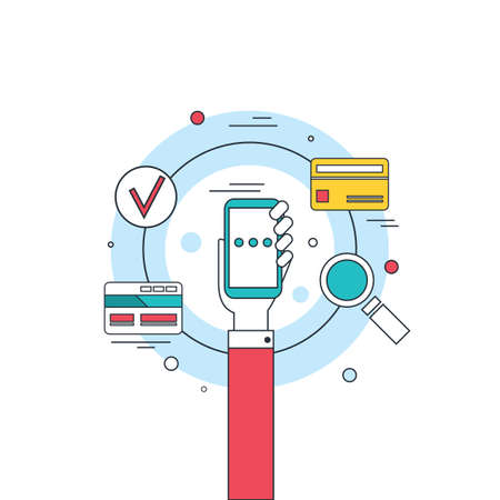 hand holding phone: Hand holding phone Social network technology Mobile payment concept banner Vector illustration