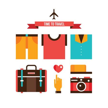 summer clothes: Packing bags Summer clothes Vacation Travel Tourism design elements set Vector illustration Illustration