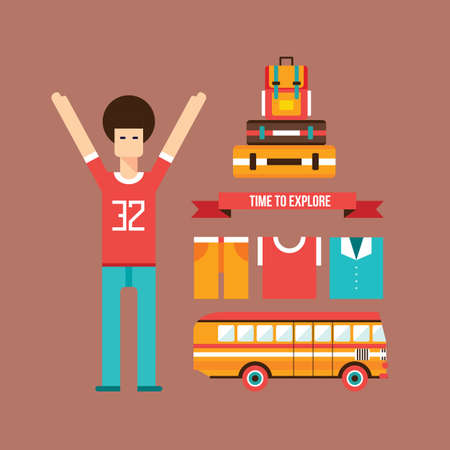 exited: Young male exited and happy about road trip Vacation Travel and Tourism background Vector illustration