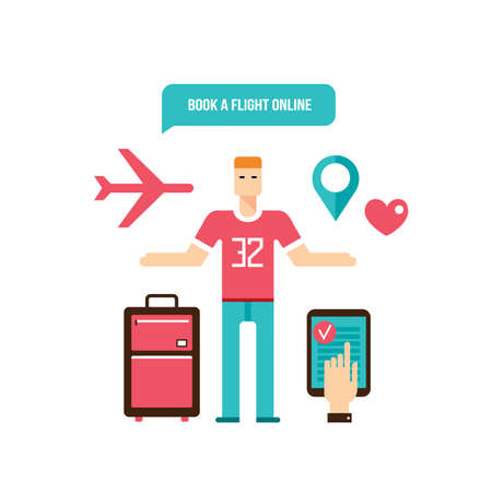 flight booking: Young man ready for vacation Flight booking design elements Vector illustration Illustration