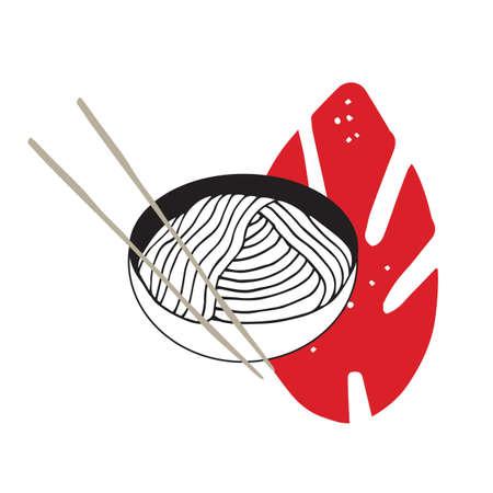 thai noodle: Hand drawn noodles bowl with chopsticks Asian cuisine Vector illustration Illustration