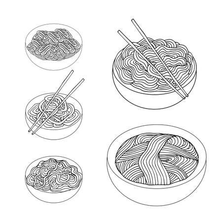 thai noodle: Hand drawn Noodles set Asian Cuisine Vector illustration