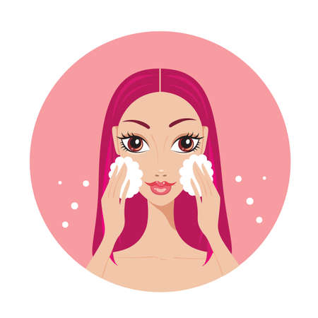 Young woman washing her face Look beautiful and happy Vector illustration Vektorové ilustrace