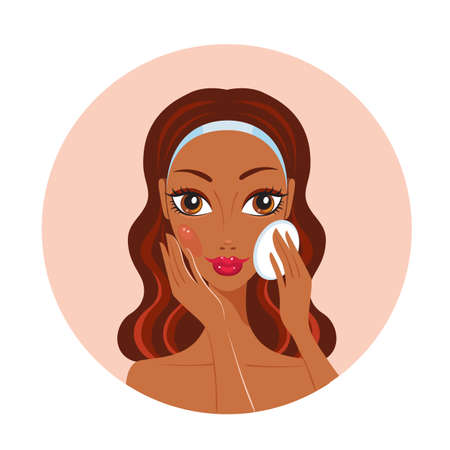 make up applying: African American woman removing make up look happy and beautiful Vector illustration