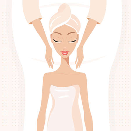 beauty therapist: Beautiful young woman relaxing at spa salon Face Body massage Vector illustration Illustration