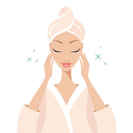flawless: Beautiful young woman touching her face Beauty Spa Skincare concept Vector illustration Illustration