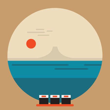 Bellissimo paesaggio giapponese bandiera di corsa con Mountain Fuji e l'illustrazione vettoriale sushi