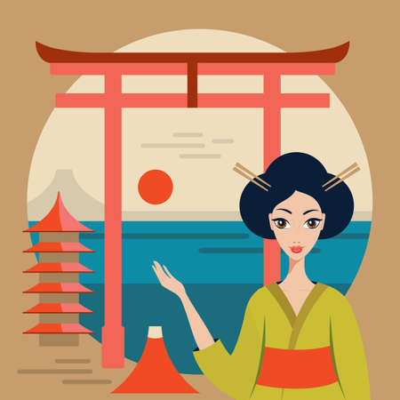 torii: Beautiful Japan Travel banner with Geisha Mountain Fuji Torii and temple Vector illustration Illustration