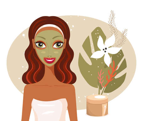 clay mask: Beautiful happy woman with face mask Spa Skin care concept Vector illustration