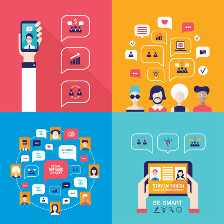 holding smart phone: Social Network Technology Banner set People using various electronic devices Tablet and Mobile phone applications Illustration