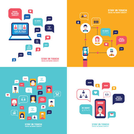Social Network Technology Banner set People using various electronic devices to communicate