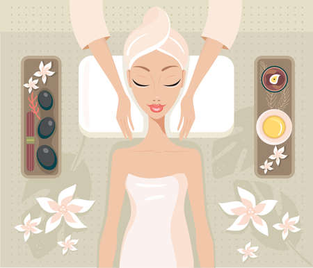 Beautiful young woman relaxing at spa salon Face and Body massage concept