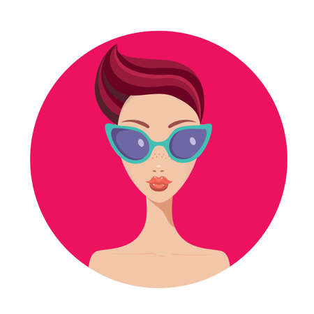 woman short hair: Beautiful young woman with short hair style wearing stylish sunglasses Vector illustration