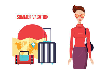 short trip: Stylish young woman with packed travel bags Ready for vacation Vector illustration