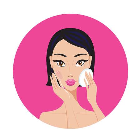 mujer maquillandose: Hermosa mujer asiática joven desmaquillar mirada perfecta ilustración vectorial feliz