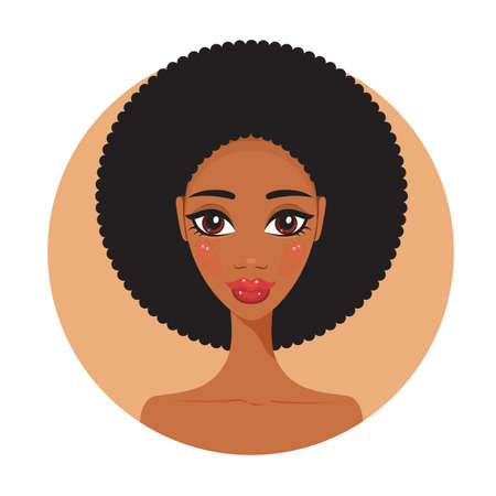 african american woman: Young African American woman Fresh and happy Beautiful girl portrait Vector illustration