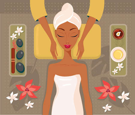 Beautiful African woman relaxing spa salon Face Body massage concept Vector illustration