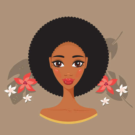 beauty treatment: Young beautiful black woman African spa and beauty treatment concept Vector illustration