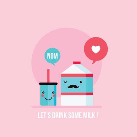 milk mustache: Hipster mustache milk carton and cute glass happy face background Vector illustration