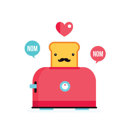 toasted bread: Toaster and funny hipster toasted bread with mustache Cartoon character Vector illustration Illustration