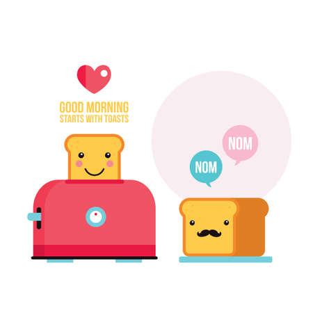 toasted bread: Toaster Funny hipster toasted bread loaf with mustache Cartoon character Vector illustration