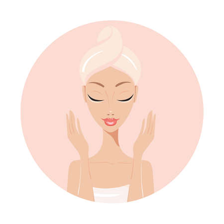 flawless: Beautiful young woman Perfect face skin Beauty Spa Skincare concept Vector illustration Illustration