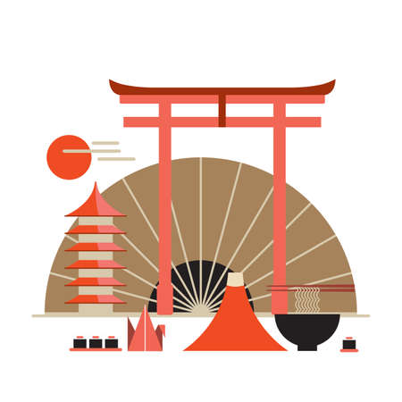 torii: Asia design elements collection Welcome to Japan banner Vector illustration