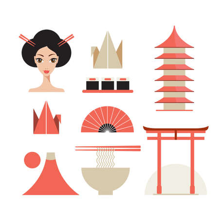 torii: Japan icons set Asia design elements collection Vector illustration