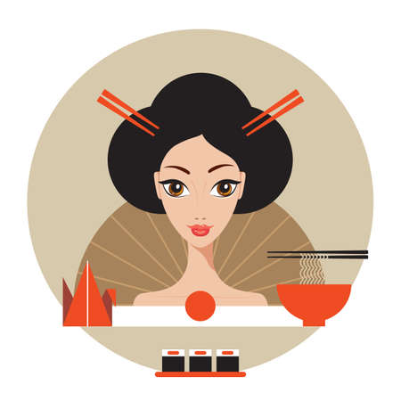 japanese cuisine: Beautiful Japan Travel banner with Geisha Sushi Origami and Noodles Vector illustration Illustration