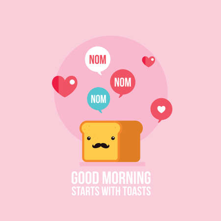 Cute toast bread loaf with mustache Cartoon character Vector illustration