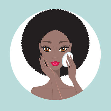 African American woman removing make up look happy and beautiful Vector illustration