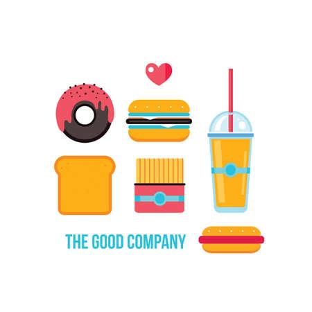 french toast: Fast food icons Hamburger Hot dog French fries Donut Toast Vector illustration