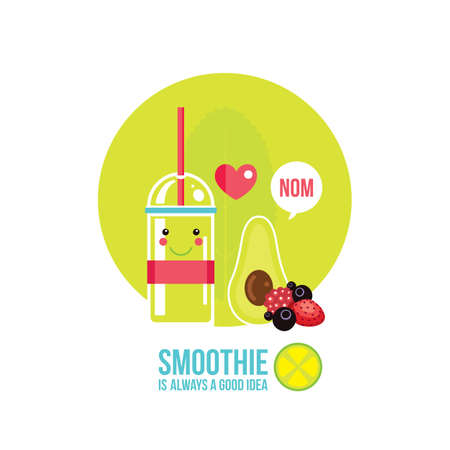 kale: Fresh summer drink Smoothie Juice Cocktail with avocado and greens Vector illustration